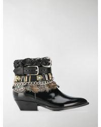 Philosophy Di Lorenzo Serafini - Multi-buckle Feather-trim Boots - Lyst