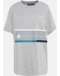 adidas By Stella McCartney - T-Shirt Essentials Grigia con Logo - Lyst