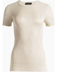 St. John - Matte Shine Rib Knit Short Sleeve Top - Lyst