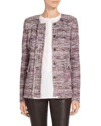 St. John - Anna Woven Stripe Knit Front Placket Jacket - Lyst