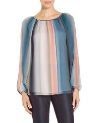 St. John - Sale Blurred Multi Stripe Print Top - Lyst
