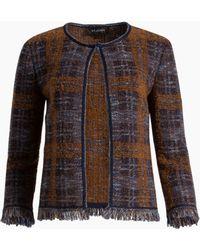 St. John - Plaid Boucle Jacquard Knit Jacket - Lyst