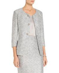 St. John - Sale Glint Knit Jewel Neck Jacket - Lyst