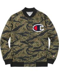 Supreme - Champion Snap Front Sweat Olive Tiger Camo - Lyst