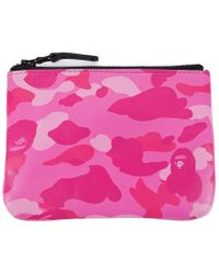 A Bathing Ape - Color Camo Leather Coin Case Wallet Pink - Lyst