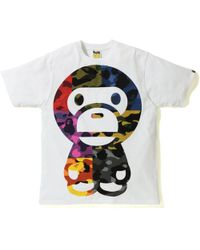 b0a1acdf A Bathing Ape Mix Camo Big Busy Works Tee White in White for Men - Lyst