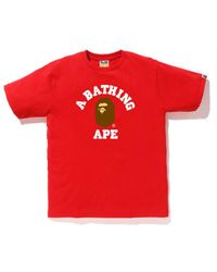 749cde00d A Bathing Ape Pigment College Tee Yellow in Yellow for Men - Lyst