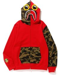 ba8138598847 A Bathing Ape - X Hebru Brantley Flyboy Shark Full Zip Hoodie Red - Lyst