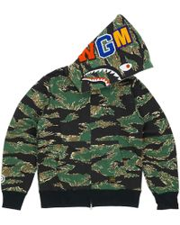 c015e650 A Bathing Ape Xxv Cities Camo Tiger Shark Half Full Zip Hoodie Green/blue  in Green for Men - Lyst