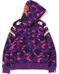 9bb1636e8c3d5 A Bathing Ape 2nd Ape Tiger Half Full Zip Hoodie Purple in Purple for Men -  Lyst