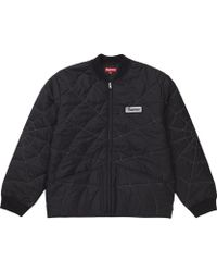 5e314f9987cb Supreme - Spider Web Quilted Work Jacket Black - Lyst