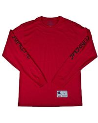 Supreme - Champion Ls Tee Red - Lyst