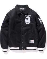 22a41a28 A Bathing Ape Majestic Satin Varsity Jacket in Black for Men - Lyst