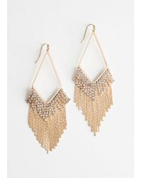 & Other Stories - Rhinestone Fringe Hanging Earrings - Lyst