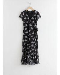 6fd41d919c4e5 & Other Stories Jacquard Stripe Midi Dress in Black - Lyst