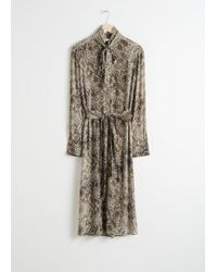 & Other Stories - Printed Pussy Bow Midi Dress - Lyst