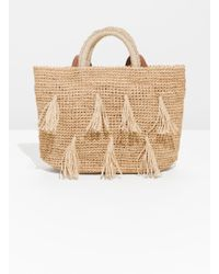 & Other Stories - Pom Pom Woven Tote - Lyst