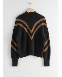 & Other Stories Mock Neck Varsity Stripe Jumper - Black