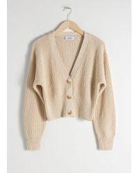 & Other Stories - Cropped Textured Cotton Cardigan - Lyst