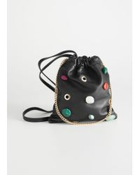 & Other Stories - Drawstring Leather Pouch Clutch - Lyst