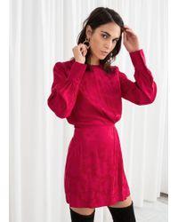f6c954bf754 Other Stories - Gathered Satin Mini Dress - Lyst