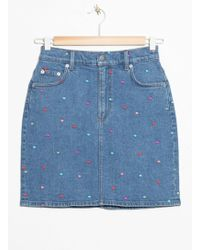 & Other Stories - Dot Embroidered Demin Skirt - Lyst