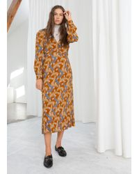 & Other Stories - Plunging Ruched Midi Dress - Lyst