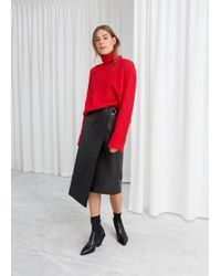 & Other Stories - Asymmetric Belted Leather Skirt - Lyst