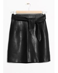 & Other Stories - Belted Leather Skirt - Lyst