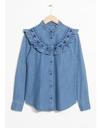 & Other Stories - Frilled Denim Blouse - Lyst