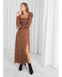 & Other Stories - Ruched Floral Maxi Dress - Lyst