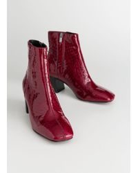 & Other Stories - Patent Square Toe Ankle Boots - Lyst