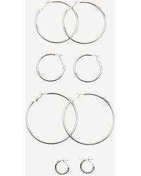 Stradivarius - Set Of 4 Solid Hoop Earrings - Lyst