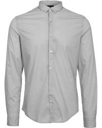 Armani Jeans - Fantasia Grey Slim Fit Polka Dot Shirt - Lyst
