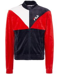 Fila Vintage - Peacoat & Chinese Red Toby Velour Track Top - Lyst