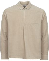 Still By Hand Beige Half Zip Corduroy Shirt