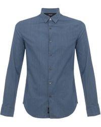 Armani Jeans - Armani Pin Striped Blue Denim Shirt - Lyst