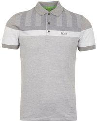 BOSS Green - Pastel Grey Piqué Polo Shirt - Lyst