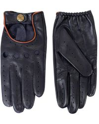 Dents - Leather Navy Tan Driving Gloves - Lyst