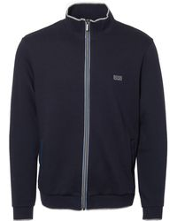 BOSS - Dark Blue French Terry Jacket - Lyst