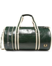 Fred Perry Authentic - Classic Barrel Bag - Deep Forest & Ecru - Lyst