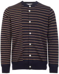 Still By Hand - Navy Striped Crew Neck Cardigan - Lyst