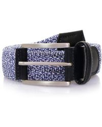 Andersons - Anderson's Blue Leather Trimmed Elasticated Woven Belt - Lyst