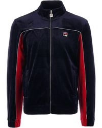 a167a6911d36 Fila Vintage - Cisco Velour Track Top - Peacoat, Chinese Red & White - Lyst