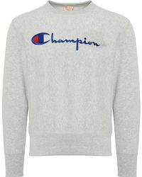 Champion - Reverse Weave Logo Sweatshirt - Grey - Lyst