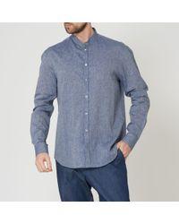 Emporio Armani - Fantasia Striped Grandad Collar Shirt - Lyst