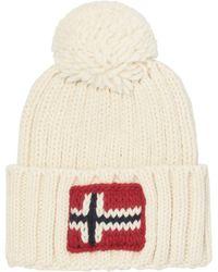 Napapijri - Bright White Semiury Beanie Hat - Lyst