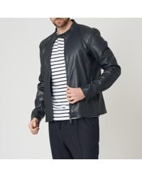 Emporio Armani - Blue Leather Jacket - Lyst