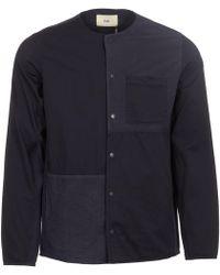 Folk - Navy Combination Pop Stud Shirt - Lyst