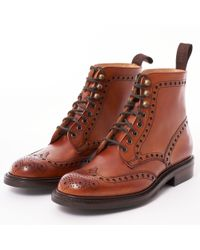 Cheaney Tweed Wingcap Brogue Boot - Brown